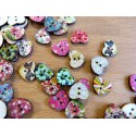 Painted wood buttons 4 holes 15 mm heart shape