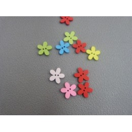 color wood button lily shape15 mm