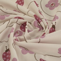 White organic cotton poplin with ladybugs print - Sample