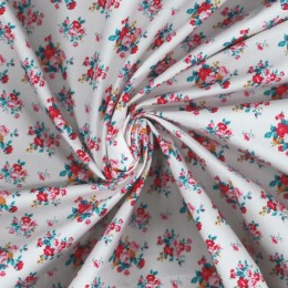 White poplin with flowers print - Sample