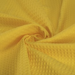 Sunny yellow waffle fabric 100% organic cotton - Sample