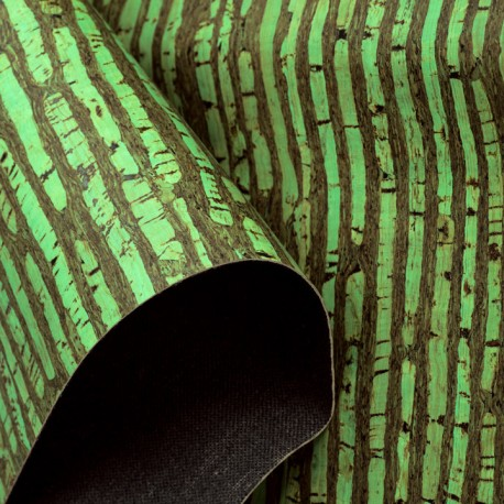 Green bamboo print cork leather