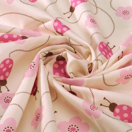Cream veil with ladybug printing - 100% organic cotton
