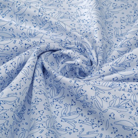 White leightweight organic cotton twill with blue arabesque print