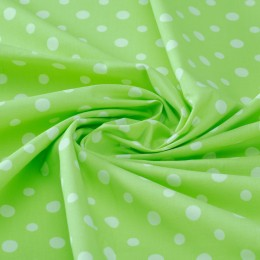 Cream dots on lime green organic cotton poplin - Sample