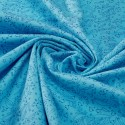 Turquoise leightweight organic cotton twill with blue arabesque print - Sample