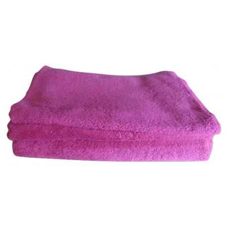 Set of organic cotton pink french terry fabric towels - 100% organic cotton