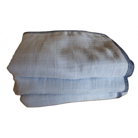 3 blue muslin nappies - 100% GOTS certified organic cotton