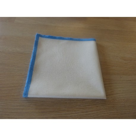 Blue edged cream organic cotton handkerchief
