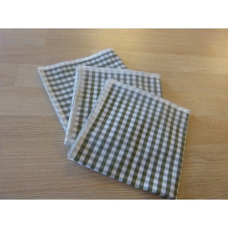 Green gingham organic cotton handkerchief