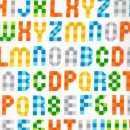 Alphabet print by 50 cm - Poplin Cloud 9