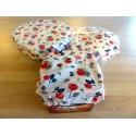Poppies print bowl covers - 3 covers 100% laminated organic cotton