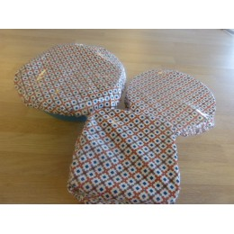 Terracotta tiles print bowl covers - 3 covers 100% laminated organic cotton