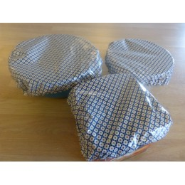 Blue tiles print bowl covers - 3 covers 100% laminated organic cotton