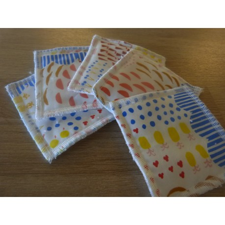 Washable wipe 10 x 10 cm fruit print - 5 units