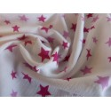 White double gauze fabric pink stars print 100% organic cotton
