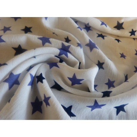 White double gauze fabric blue stars print 100% organic cotton - Sample