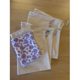 No waste fabric bags - 7 bags 100% organic cotton - Violet