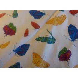 White organic cotton poplin with butterflies - Sample