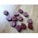 Brown wood button apple shape 15 mm