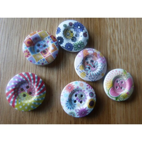 White wood button with flower print