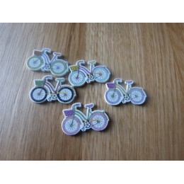 Bike shape wood button 31,5 mm