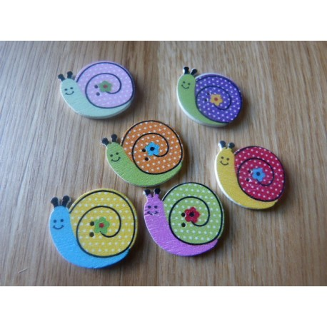 Snail shape wood button 24 mm