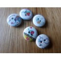 White wood button with elephant print 15 mm