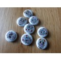 White wood button with skull print 15 mm