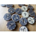 Wood button with anchor print 20 mm