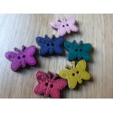 Butterfly shape wood button 17 x 23 mm