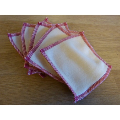 Washable wipe 10 x 10 cm organic cotton fleece - 5 units