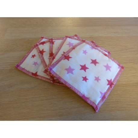 Washable wipe 10 x 10 cm organic cotton fleece with stars - 5 units