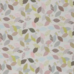 Pastel leaves print organic cotton poplin -Sample