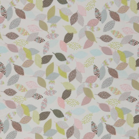 Pastel leaves print organic cotton poplin