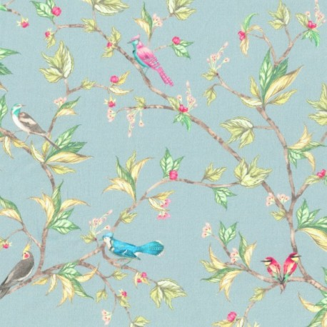 Parrot tree print organic cotton poplin